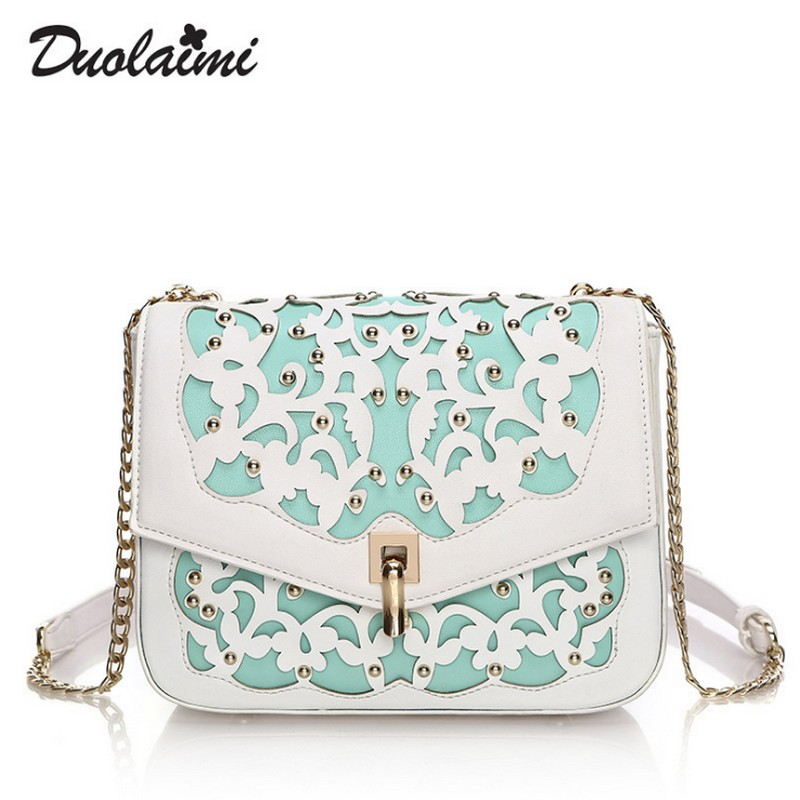 Duolaimi New Small PU Leather Women Crossbody Bags Lady  Hollow Out Rivet Flap Bag Women Shoulder Messenger Bag Ladies Hand Bag gykaeo brand 2017 european and american style fashion shoulder bag hollow out rivet crossbody messenger bags female small bag