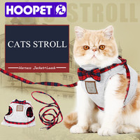 Fancy Cat Walking Harness Jackets And Leash Knitted Fabric Soft Cute Kitten Collars Stroller Bow Tie