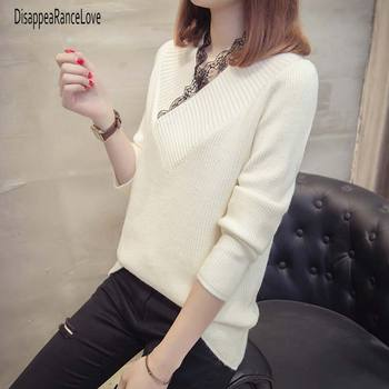 New 2019 Autumn Winter Casual Jumper Tops V Neck Knitting Winter Lace Sweater Women Fashion Long Sleeve Pullover Female 2019 autumn ruffles sweater women sweet flare sleeve slim winter sweater pullover o neck casual female jumper knitwear tops