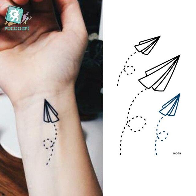 Rocooart Hc1079 Tattoo Stickers Paper Airplane Design Temporary