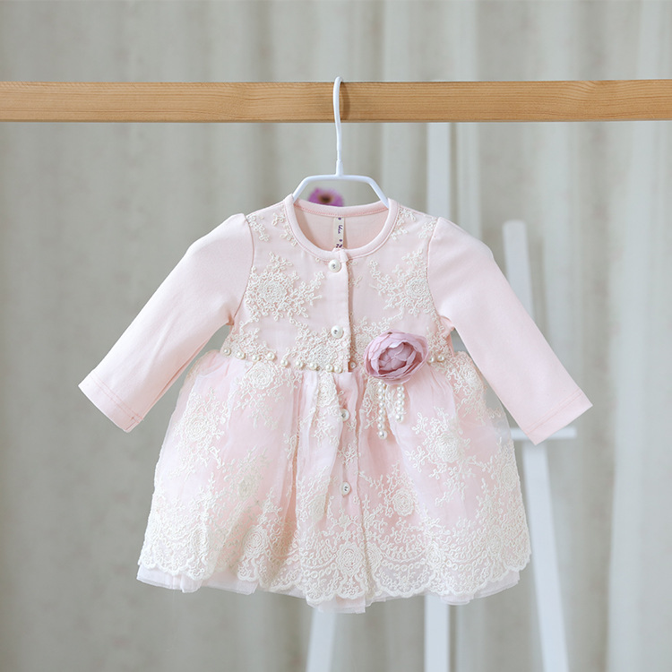 2016 autumn and spring sweet children s wear girls long sleeved dress clothes baby Lace Princess