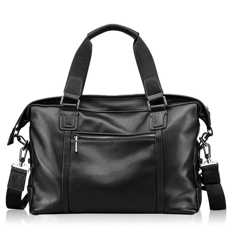 Вместительная мужская сумка для компьютера из натуральной кожи, многофункциональная деловая дорожная сумка высокого качества, однотонная