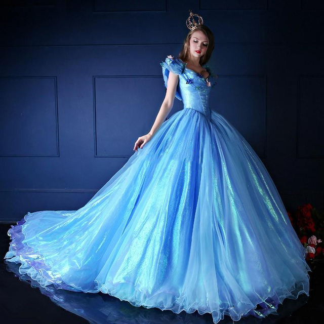 0e0610806d2 2015 Cinderella Quinceanera Dresses Organza V Neck Vintage Ball Gown Off  the Shoulder Lace Up Blue Princess Prom Dress Custom