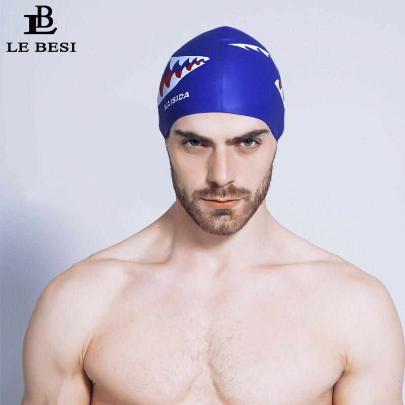 LEBESI Man Women Swimming Cap Waterproof Shark Plus Size Pro