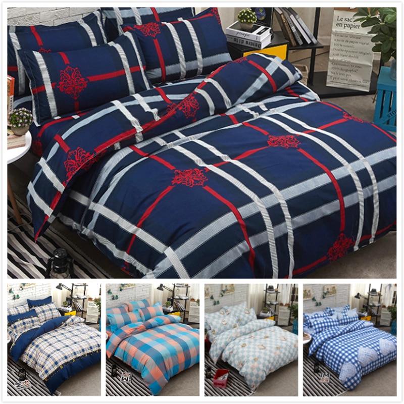 Red Blue Plaid Stripe Couple Double Size Duvet Cover 4pcs Bedding Set Big Full King Queen Bed Linen 1.5m 1.8m 2.0m 2.2m Bedlinen