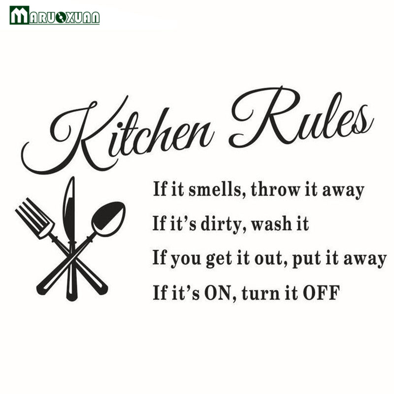Maruoxuan DIY Kitchen Wall Stickers Kitchen Rules Kitchen Decorations For The Dining Room Vinyl Wall Art Wall Decals