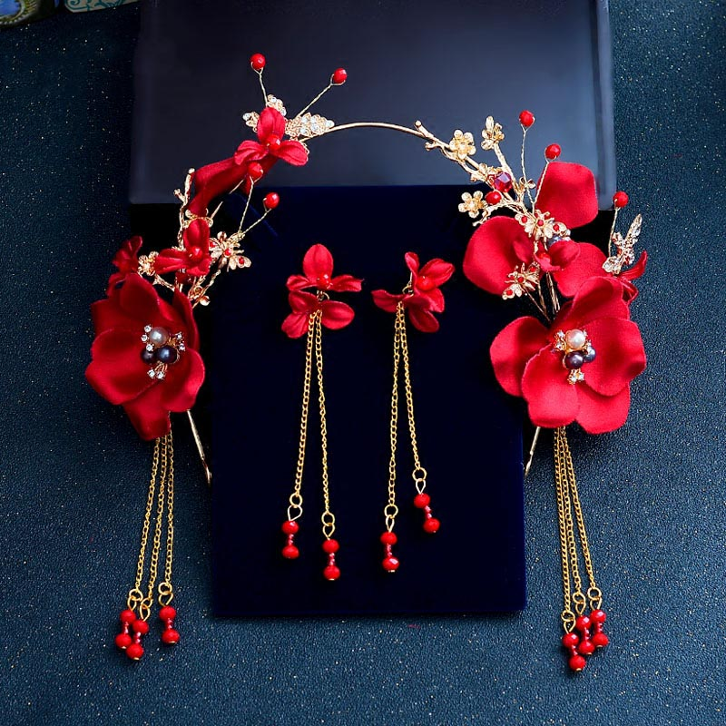 Image 4 - New Bridal Red Rose Flower Crowns for Women Wedding Crystal Tiaras and Earrings Vintage Chinese Wedding Hair Accessories ML081-in Hair Jewelry from Jewelry & Accessories