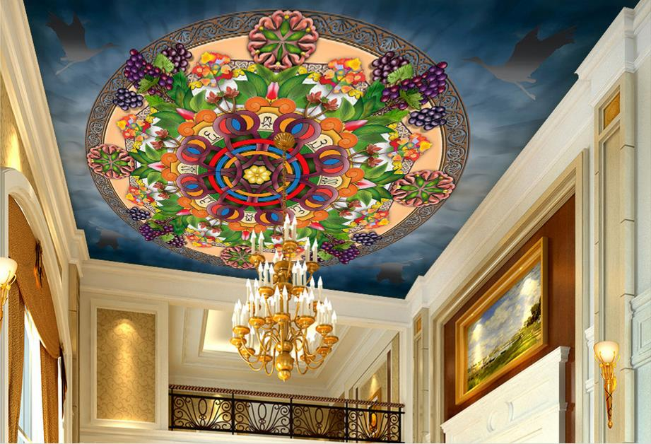 custom 3d ceiling Grapes Mandala ceiling murals wallpaper 3d modern ceiling photo wallpaper sky ceiling wallpaper for walls roll 3d ceiling murals wallpaper custom photo room european ceiling spelling a flower painting 3d wall murals wallpaper for walls 3 d