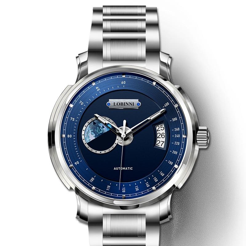 LOBINNI montre hommes de luxe marque hommes montres saphir tachymètre relogio japon miborough automatique mécanique mouvement horloge L17511-4