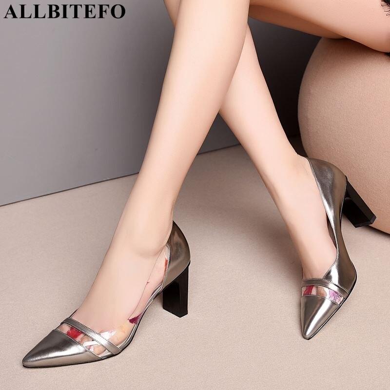 ALLBITEFO grande taille: 33-43 en cuir véritable sexy talons hauts femmes chaussures de haute qualité bureau dames chaussures femmes chaussures à talons hauts