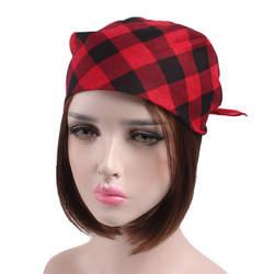 1 шт. Открытый Многофункциональный квадратный платок красные, черные в клетку хлопковый шарф унисекс оголовье Женские аксессуары для волос