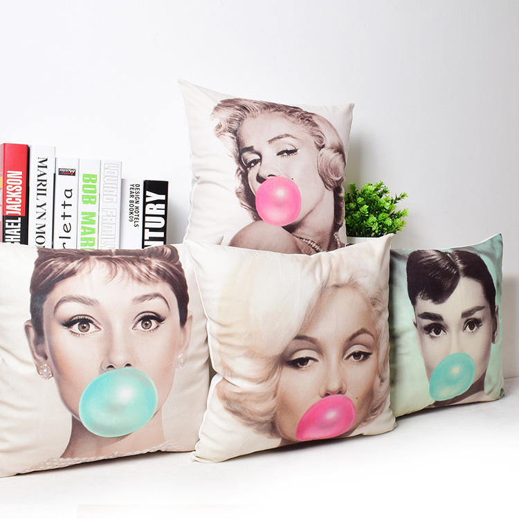 Cushions Covers Marilyn Monroe Audrey Hepburn Home Decor Sofa Car Seat Plush Luxury Printed Pillowcase Pillow Case Cushion Cover In From