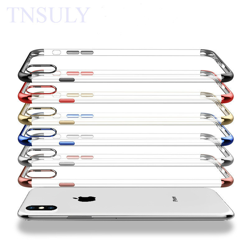 Tnsuly Fall Für Iphone X S Max 6 Abdeckung 7 8 Plus Xr Galvanik Tpu Weiche Shell 5 C Se Transparente Schutzhülle Heller Glanz Angepasste Hüllen Handys & Telekommunikation