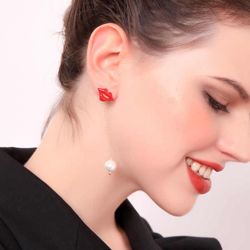 Seksi kırmızı dudaklar damla küpe emaye asimetrik cam inciler kulak çıtçıt kadınlar için moda takı damla nakliye