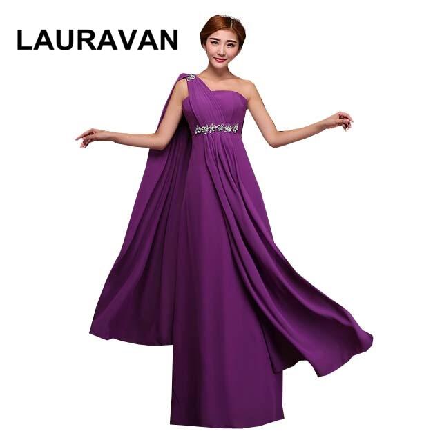 Deep Purple Peach Red One Shoulder Women Dresses Bridesmaid Dress Chiffon Long Length Robe De Soiree Fashion Gown Dress