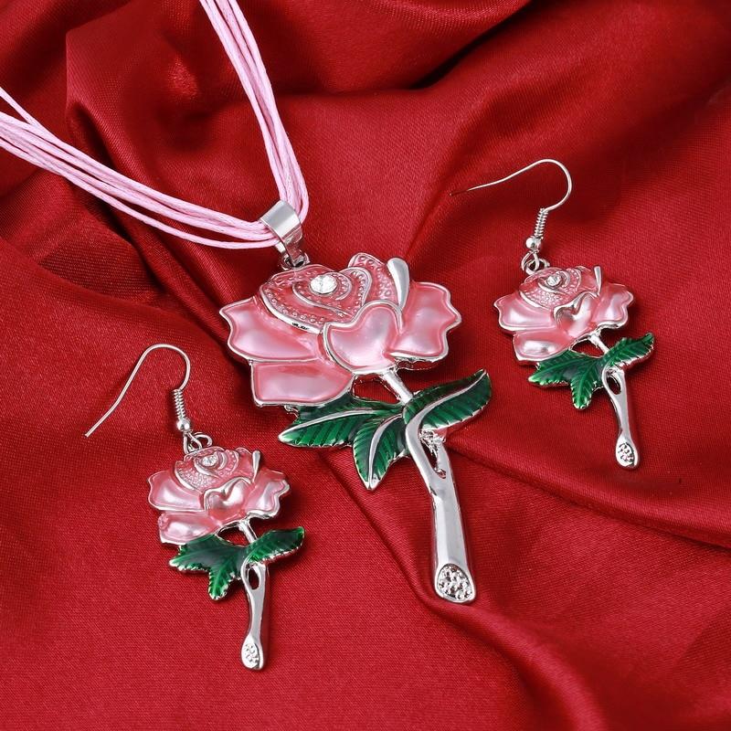 Charm Jewelry Silver Plated Pendant Rope Chain Crystal Choker Statement Bib Necklace Jewelry Sets 2pcs/set