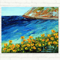 Hand Made Modern Art California Poppies Palette Knife Art Landscape Oil Painting Pacific Highway