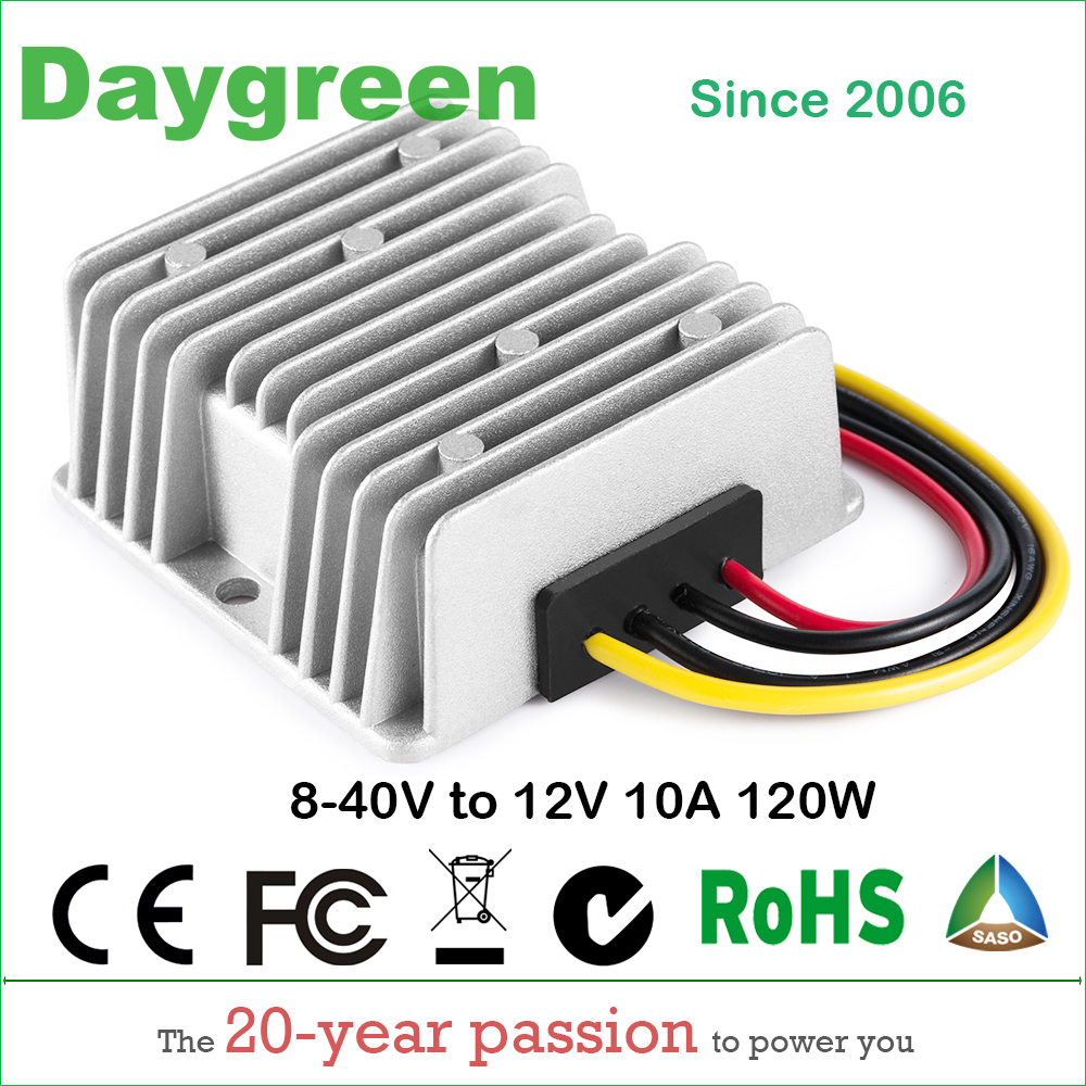 8-40V to 12V 10A DC DC Converter Reducer Regulator Voltage Stabilizer Step-up Down type 120w Daygreen CE RoHS 8-40V TO 12V 10AMP waterproof regulator module step up dc 10v 12v 18v to dc 19v 15a 285w for solar power system voltage converter transformer