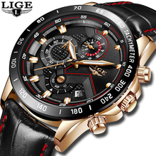 LIGE Top Brand Luxury Mens Watches Multi-Functional Quartz Watch Men's Military Waterproof Sports Watch Relogio Masculino цена и фото