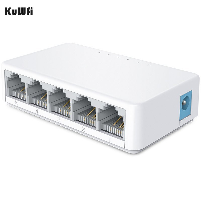 Desktop Switch Network Switch 5 Ports 10/100Mbps Fast Ethernet RJ45 Switcher Lan Hub MDI Full/Half Duplex Exchange EU US Power