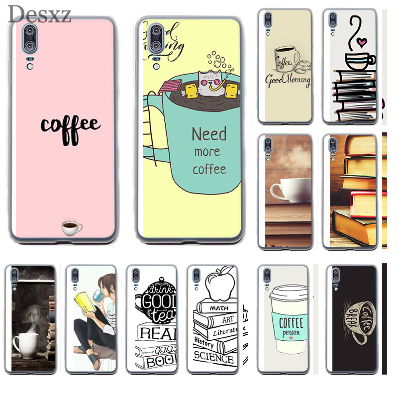 Phone Case Cover Coffee And Book For Huawei P8 P9 P10 P20 Pro Lite 2015 2016 2017 Mini Plus Note 8 9 P Smart