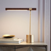LukLoy LED Gold Table Light for Bedside Study Desk Classic Decor Lights Adjustable Office Desk Lamp Wood Shade Reading LED Light