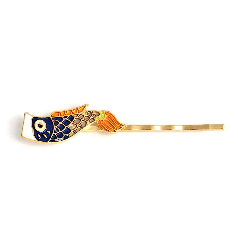Fish Hairpin Cartoon Japanese Animal Carp flag Hair Clip Barrettes Metal Black Gold Headdress for girls kids women Jewelry Gift