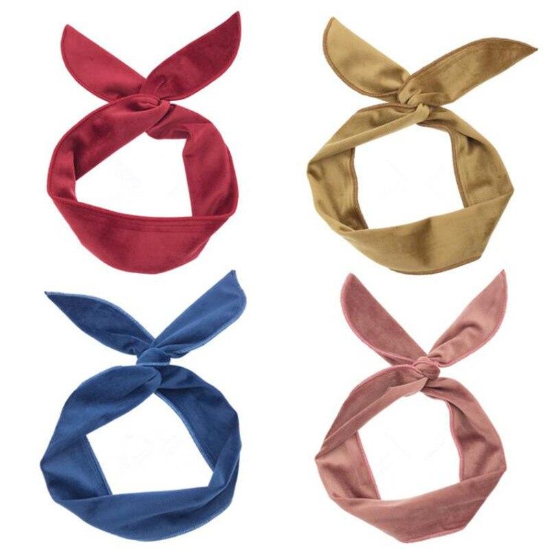 Мягкая бархатная повязка на голову с заячьими ушками из железной проволоки, женские повязки на голову, аксессуары для девочек, резинка для в...