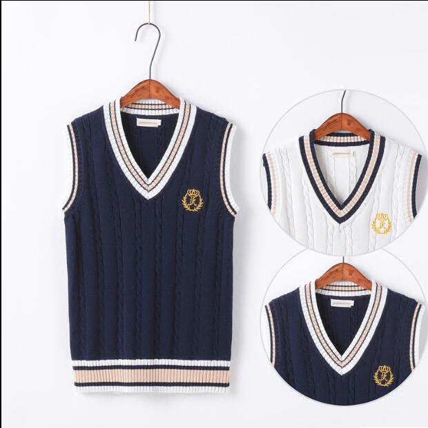 98412653568687 R$ 82.71  Escola uniforme Escolar colete blusas Sscolar uniforme Malha  colete azul Autumen Japonês uniforme de algodão camisola Meninas em  Uniformes ...