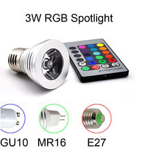 E27 RGB LED Spotlight 4W LED Lamp 85-265V LED RGB Light Bulb High Power 16 Color Change Home Decoration IR Remote Controller