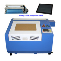 Offline System 50W CO2 Laser Engraving Machine 3040 CNC Laser Cutting Machine 500mm/s with 4th Axis Honeycomb Table