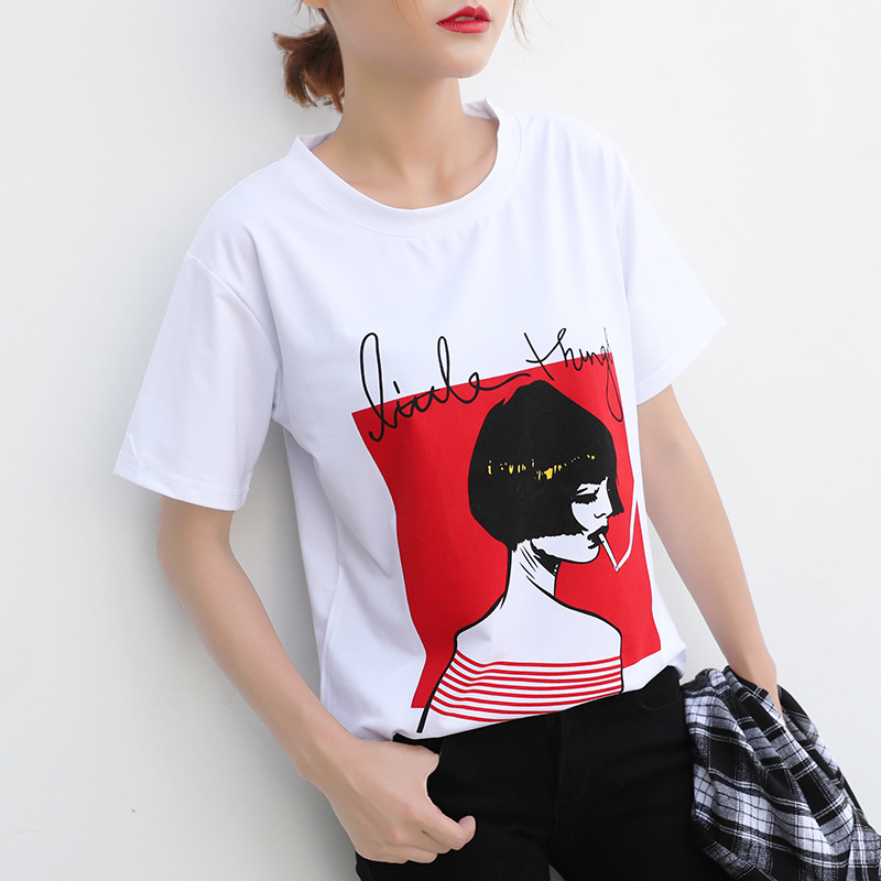 New Design Women Casual White T Shirt Female Short Sleeve Top Tees Printed T-shirt Women Dropshipping