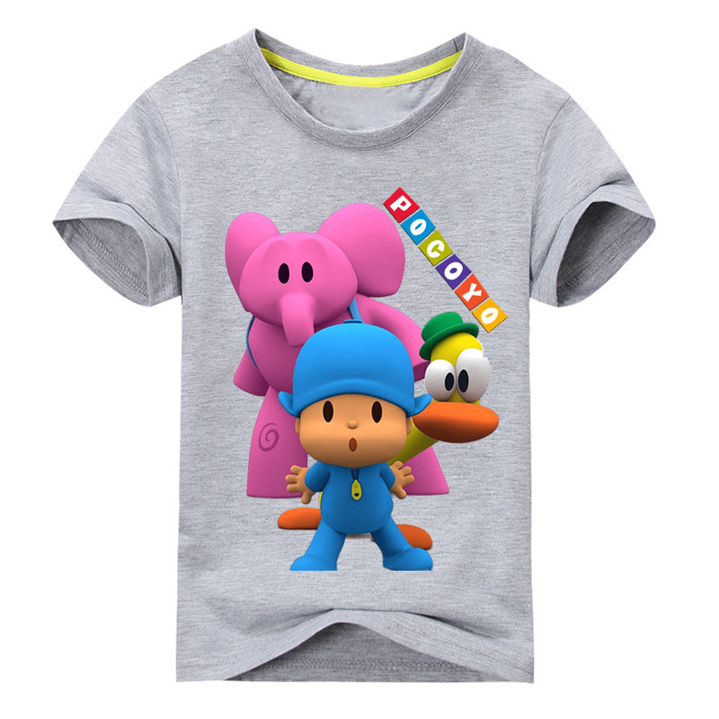 Boy New 3D Funny Pocoyo Pattern T-shirt Clothes Girl Short Sleeve Tee Tops For 1-11 Years Kids Clothing Children T Shirt DX052 2018 new 3d cartoon fireman sam print tee tops for boy girl summer short sleeve t shirt children cotton clothes kid tshirt tx041