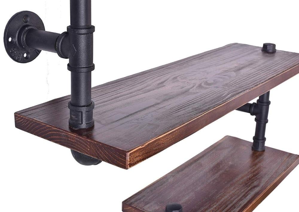 Floating Wall Shelves Industrial Rustic Iron Pipe Shelf 3 Tiers Wooden  Board Restaurant Kitchen Bathroom Decorative Wall Shelf