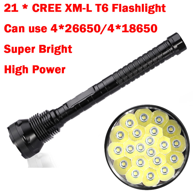 NEW Hunting Outdoor exploration 30000 LM 21 x XML T6 5 Modes LED Flashlight For 26650/18650 Battery High Quality Torch Lamp hot xlightfire 30000 lumens 12 x xml t6 5 mode led flashlight 3 x 18650 battery free shipping nn01