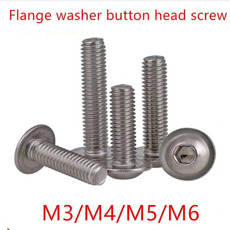 50pcs  Flange washer socket button head screw M3 M4 M5 M6 304 Stainless Steel A2 washer head Hexagon Socket Button Head Screw 50pcs iso7380 m3 5 6 8 10 12 14 16 18 20 25 3mm stainless steel hexagon socket button head screw