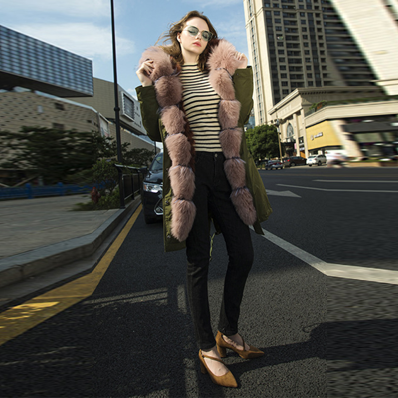 Outwear Fox Manteau Col Chaud Naturel À Femmes Pelliccia Réel De Hn256 2018 Veste D'hiver Luxe Vert Fourrure Nouvelle Parkas Épais Capuchon q7ZBY7