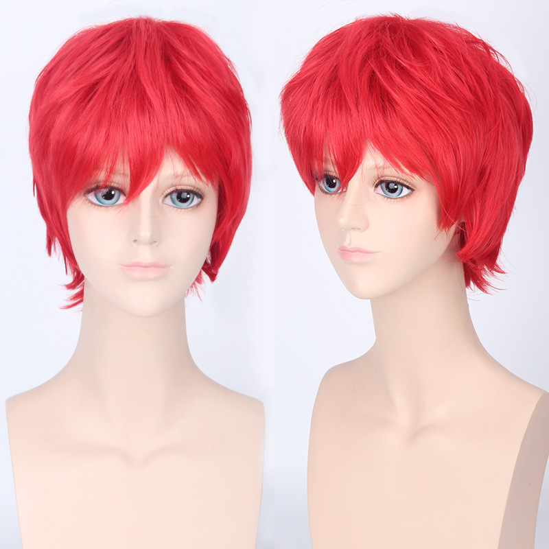 Coshome Naruto One Piece Fairy Tail Bleach Yato Cosplay Short Wig For Men Women Black Brown Yellow Red Blue Wigs (18) -