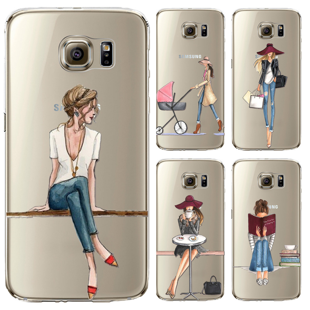 Phone Case for Samsung Galaxy S5 S6 S6Edge S6Edge S7 S7edge Cover Soft Silicon Painted Fashion Shopping Girl Mobile Phone Bag