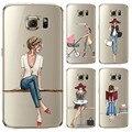 Telefone case para samsung galaxy s5 s6 s6edge s6edge + s7 Capa Mole Silicon S7edge Pintado Moda Shopping Girl Telefone Móvel saco