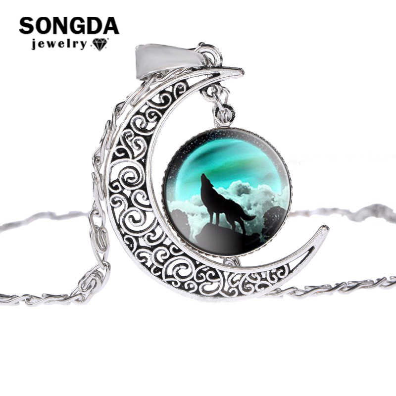 SONGDA Retro Howling Wolf Glass Cabochon Necklace Ancient Silver Color Moon Pendant Statement Chain Necklace Women Planet Choker
