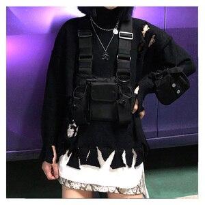 Image 3 - מתכוונן שחור אפוד היפ הופ Streetwear תפקודי טקטי לרתום חזה Rig Kanye West חבילת מותניים חזה תיק אופנה ניילון c5