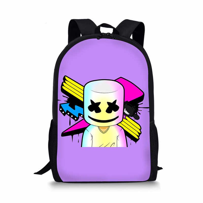0ce1ab864261 ... 3D Marshmello Backpack Female School Supplies Satchel Casual Book Bag  School Bag for Kids Boy Girls ...