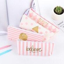 Kawaii Pink Canvas Pencil Case Cute Dot Stripe Pencil font b Bag b font For font