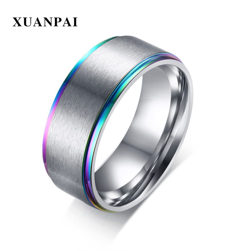Custom Mens Wedding Bands.Us 3 21 41 Off Customized Men S Ring 316 Stainless Steel Fashion Wedding Band Silver Color 8mm Polished Edges For Male Party Anillo Accessory In