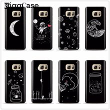 black white moon stars space astronaut Case cover for Samsung Galaxy S6 S7 Edge S8 S9 plus J3 J5 J7 A3 A5 A7 2016 2017 a8 plus(China)