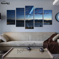 5 Panel Canvas Art Japan Your Name Anime Movie Poster Canvas Print Framed Wall Art Picture