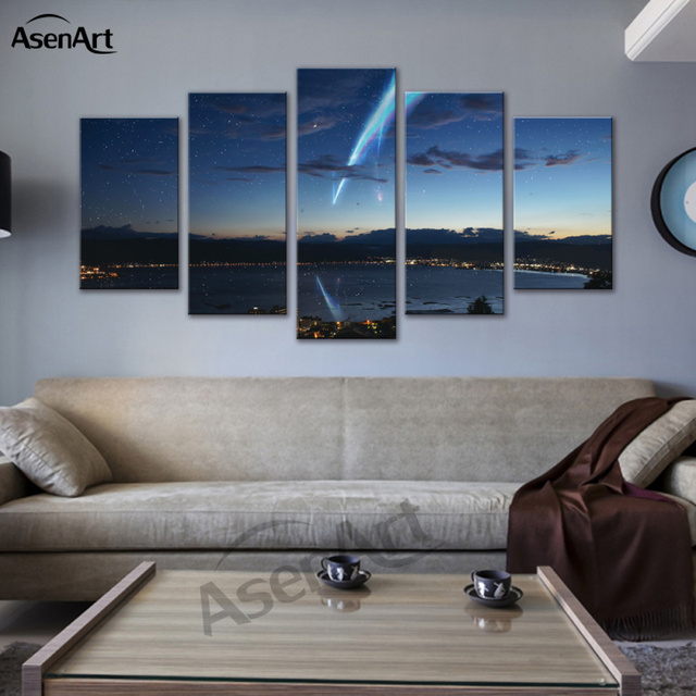 Completely new Cartoon Spray Painting 5 Panel Canvas Art Japan Your Name Anime  RL05