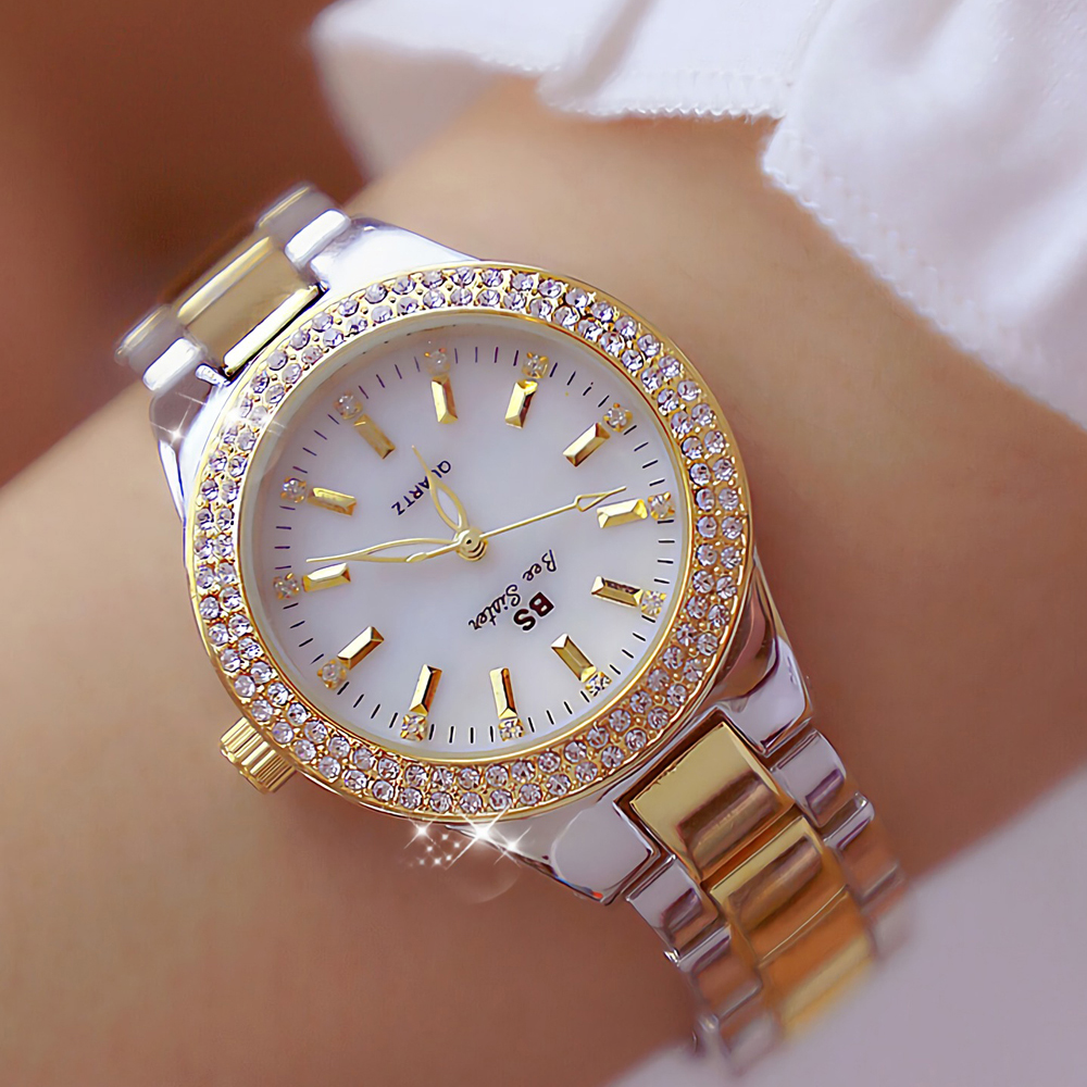 2019 Ladies Wrist Watches Dress Gold Watch Women Crystal Diamond Watches Stainless Steel Silver Clock Women Montre Femme 2018(China)