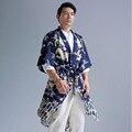 Originais dos homens do estilo Chinês trincheira blusão casaco cardigan cinto de linho de algodão estampado homens verão roupas longas sobretudo Q389